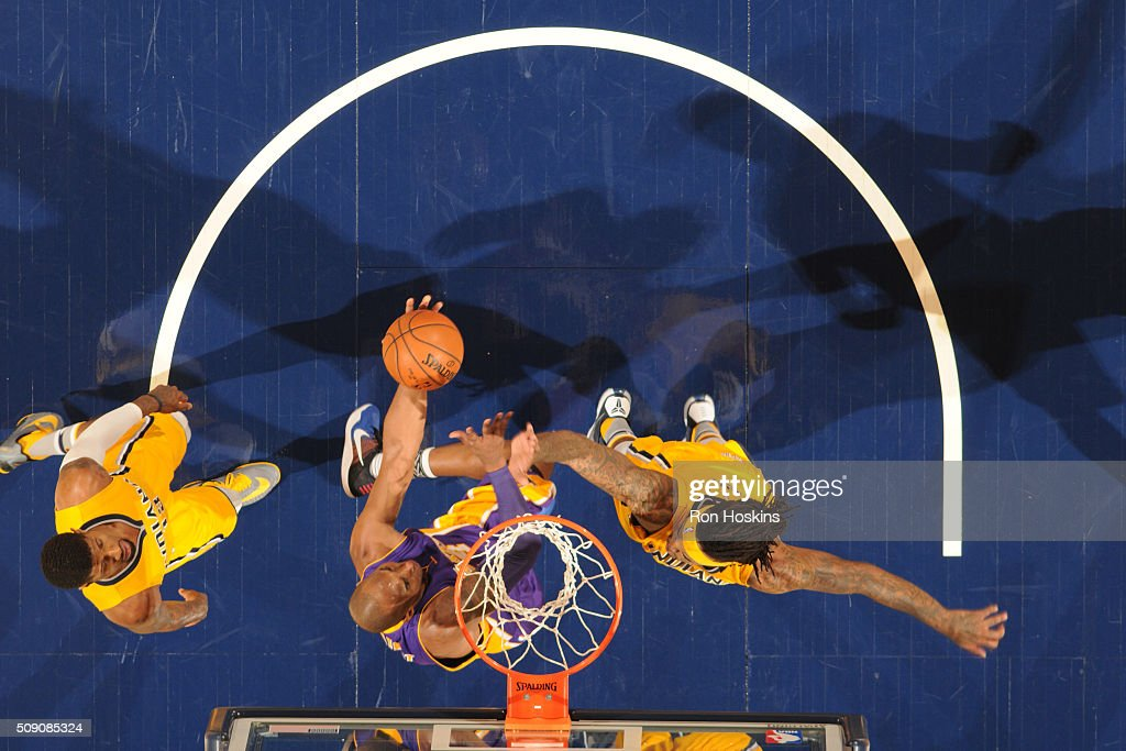 <a gi-track='captionPersonalityLinkClicked' href=/galleries/search?phrase=Kobe+Bryant&family=editorial&specificpeople=201466 ng-click='$event.stopPropagation()'>Kobe Bryant</a> #24 of the Los Angeles Lakers shoots the ball against the Indiana Pacers on February 8, 2016 at Bankers Life Fieldhouse in Indianapolis, Indiana.
