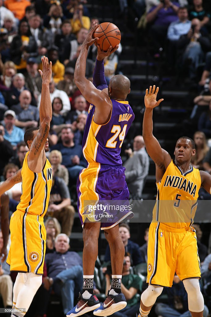 Kobe Bryant #24 of the Los Angeles Lakers shoots the ball against the Indiana Pacers on February 8, 2016 at Bankers Life Fieldhouse in Indianapolis, Indiana.