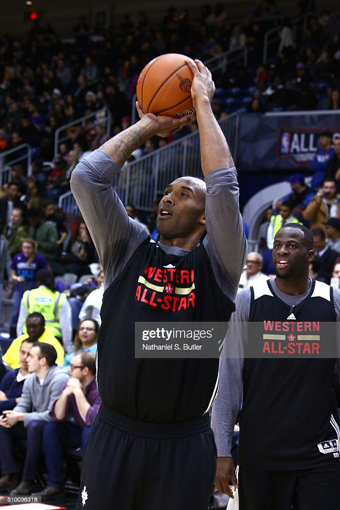 <a gi-track='captionPersonalityLinkClicked' href=/galleries/search?phrase=Kobe+Bryant&family=editorial&specificpeople=201466 ng-click='$event.stopPropagation()'>Kobe Bryant</a> #24 of the Los Angeles Lakers shoots the ball during the NBA All-Star Practice as part of 2016 All-Star Weekend at the Ricoh Coliseum on February 13, 2016 in Toronto, Ontario, Canada.
