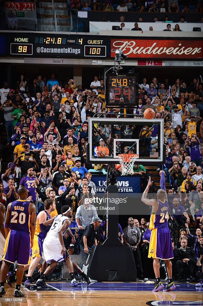 Kobe Bryant #24 of the Los Angeles Lakers shoots the free throw against the Sacramento Kings on March 30, 2013 at Sleep Train Arena in Sacramento, California.