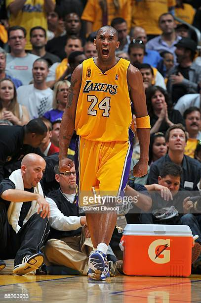 Kobe Bryant of the Los Angeles Lakers shouts during Game One of the 2009 NBA Finals against the Orlando Magic at Staples Center on June 4 2009 in Los...