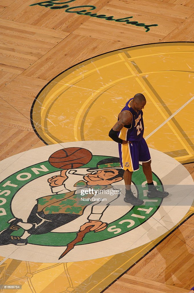Kobe Bryant of the Los Angeles Lakers shows dejection against the Boston Celtics during Game Six of the 2008 NBA Finals on June 17 2008 at TD...