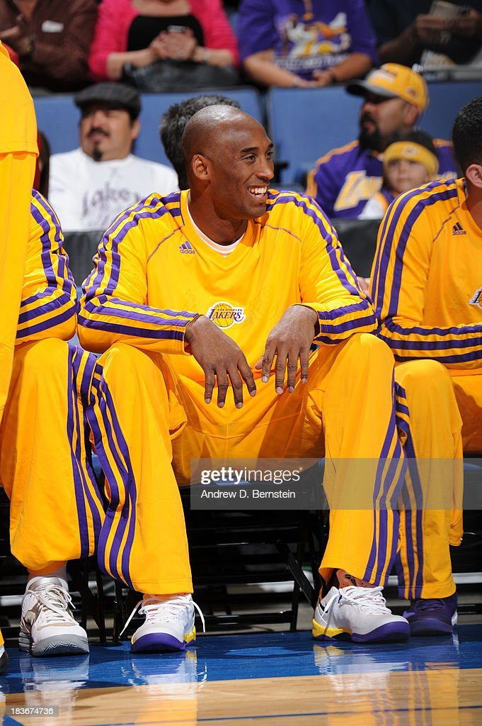 <a gi-track='captionPersonalityLinkClicked' href=/galleries/search?phrase=Kobe+Bryant&family=editorial&specificpeople=201466 ng-click='$event.stopPropagation()'>Kobe Bryant</a> #24 of the Los Angeles Lakers sits on the bench during the game against the Denver Nuggets at Citizens Business Bank Arena on October 8, 2013 in Ontario, California.