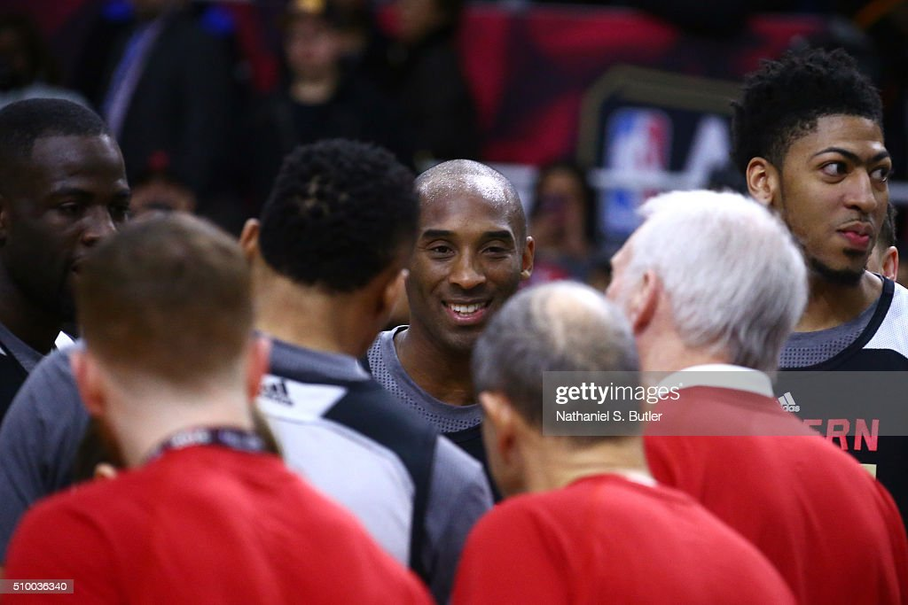 <a gi-track='captionPersonalityLinkClicked' href=/galleries/search?phrase=Kobe+Bryant&family=editorial&specificpeople=201466 ng-click='$event.stopPropagation()'>Kobe Bryant</a> #24 of the Los Angeles Lakers smiles during the NBA All-Star Practice as part of 2016 All-Star Weekend at the Ricoh Coliseum on February 13, 2016 in Toronto, Ontario, Canada.
