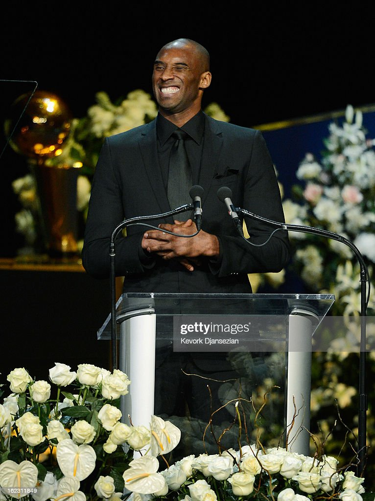 <a gi-track='captionPersonalityLinkClicked' href=/galleries/search?phrase=Kobe+Bryant&family=editorial&specificpeople=201466 ng-click='$event.stopPropagation()'>Kobe Bryant</a> of the Los Angeles Lakers speaks during a memorial service for Los Angeles Lakers owner Dr. Jerry Buss at the Nokia Theatre L.A. Live on February 21, 2013 in Los Angeles, California. Dr. Buss died at the age of 80 on Monday following an 18-month battle with cancer. Buss won 10 NBA championships as Lakers owner since purchasing the team in 1979.
