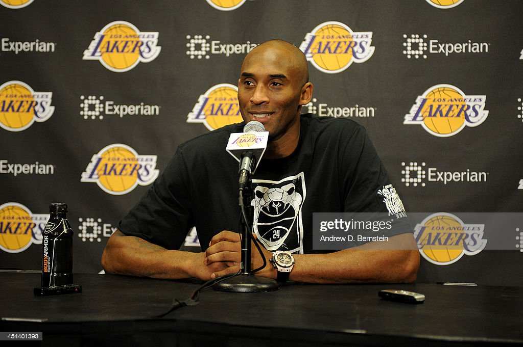 <a gi-track='captionPersonalityLinkClicked' href=/galleries/search?phrase=Kobe+Bryant&family=editorial&specificpeople=201466 ng-click='$event.stopPropagation()'>Kobe Bryant</a> #24 of the Los Angeles Lakers speaks to the media after a game against the Toronto Raptors on December 8, 2013 at STAPLES Center in Los Angeles, California.