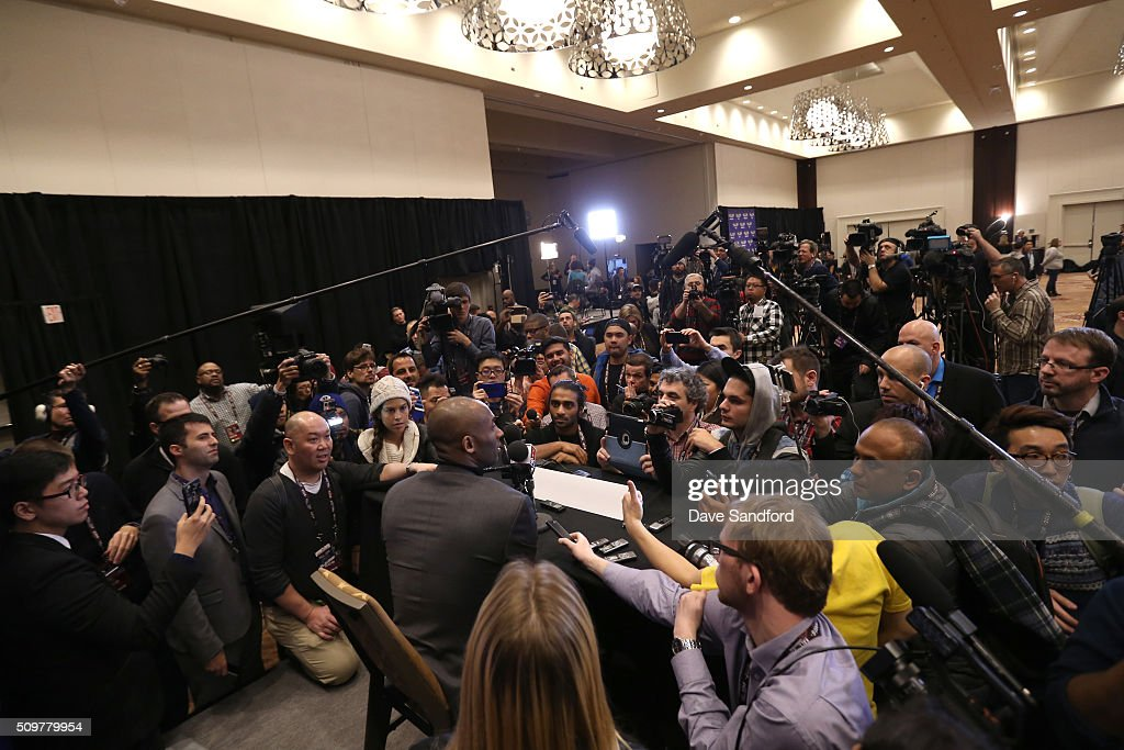 <a gi-track='captionPersonalityLinkClicked' href=/galleries/search?phrase=LaMarcus+Aldridge&family=editorial&specificpeople=453277 ng-click='$event.stopPropagation()'>LaMarcus Aldridge</a> of the San Antonio Spurs speaks to the media during media availability as part of 2016 NBA All-Star Weekend at the Sheraton Centre Toronto Hotel on February 12, 2016 in Toronto, Ontario, Canada.
