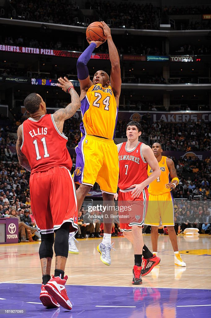 <a gi-track='captionPersonalityLinkClicked' href=/galleries/search?phrase=Kobe+Bryant&family=editorial&specificpeople=201466 ng-click='$event.stopPropagation()'>Kobe Bryant</a> #24 of the Los Angeles Lakers takes a shot against <a gi-track='captionPersonalityLinkClicked' href=/galleries/search?phrase=Monta+Ellis&family=editorial&specificpeople=567403 ng-click='$event.stopPropagation()'>Monta Ellis</a> #11 of the Milwaukee Bucks at Staples Center on January 15, 2013 in Los Angeles, California.