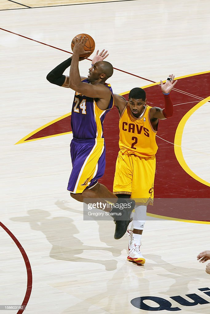 <a gi-track='captionPersonalityLinkClicked' href=/galleries/search?phrase=Kobe+Bryant&family=editorial&specificpeople=201466 ng-click='$event.stopPropagation()'>Kobe Bryant</a> #24 of the Los Angeles Lakers takes a shot against the Cleveland Cavaliers at The Quicken Loans Arena on December 11, 2012 in Cleveland, Ohio.