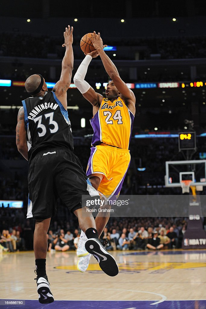 <a gi-track='captionPersonalityLinkClicked' href=/galleries/search?phrase=Kobe+Bryant&family=editorial&specificpeople=201466 ng-click='$event.stopPropagation()'>Kobe Bryant</a> #24 of the Los Angeles Lakers takes a shot against the Minnesota Timberwolves at Staples Center on February 28, 2013 in Los Angeles, California.
