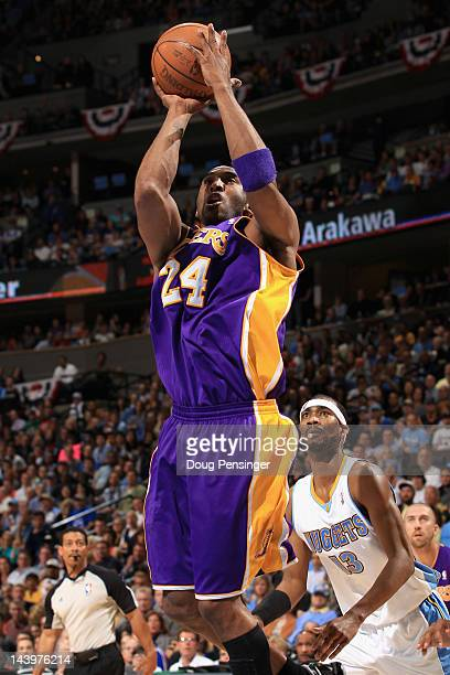 Kobe Bryant of the Los Angeles Lakers takes a shot against the Denver Nuggets in Game Four of the Western Conference Quarterfinals in the 2012 NBA...