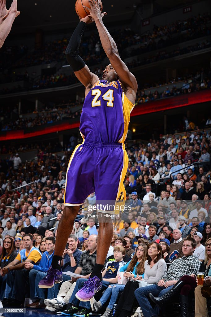 <a gi-track='captionPersonalityLinkClicked' href=/galleries/search?phrase=Kobe+Bryant&family=editorial&specificpeople=201466 ng-click='$event.stopPropagation()'>Kobe Bryant</a> #24 of the Los Angeles Lakers takes a shot against the Denver Nuggets on December 26, 2012 at the Pepsi Center in Denver, Colorado.
