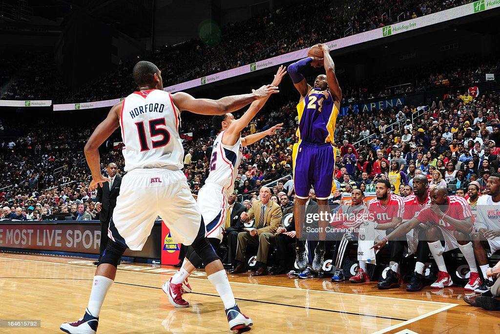 <a gi-track='captionPersonalityLinkClicked' href=/galleries/search?phrase=Kobe+Bryant&family=editorial&specificpeople=201466 ng-click='$event.stopPropagation()'>Kobe Bryant</a> #24 of the Los Angeles Lakers takes a shot against the Atlanta Hawks on March 13, 2013 at Philips Arena in Atlanta, Georgia.