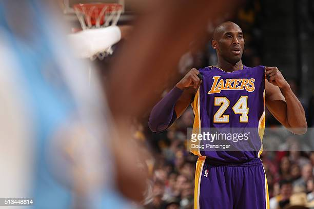 Kobe Bryant of the Los Angeles Lakers takes the court against the Denver Nuggets at Pepsi Center on March 2 2016 in Denver Colorado The Nuggets...