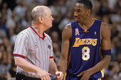 Kobe Bryant of the Los Angeles Lakers talks to referee Joe Crawford during game 5 of the Western Conference Finals during the 2002 NBA Playoffs...