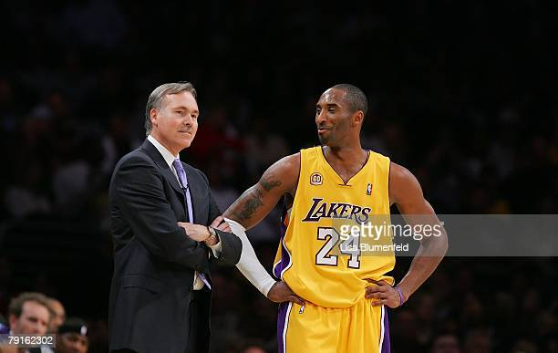 Kobe Bryant of the Los Angeles Lakers talks with head coach Mike D'Antoni of the Phoenix Suns at Staples Center on January 17 2008 in Los Angeles...