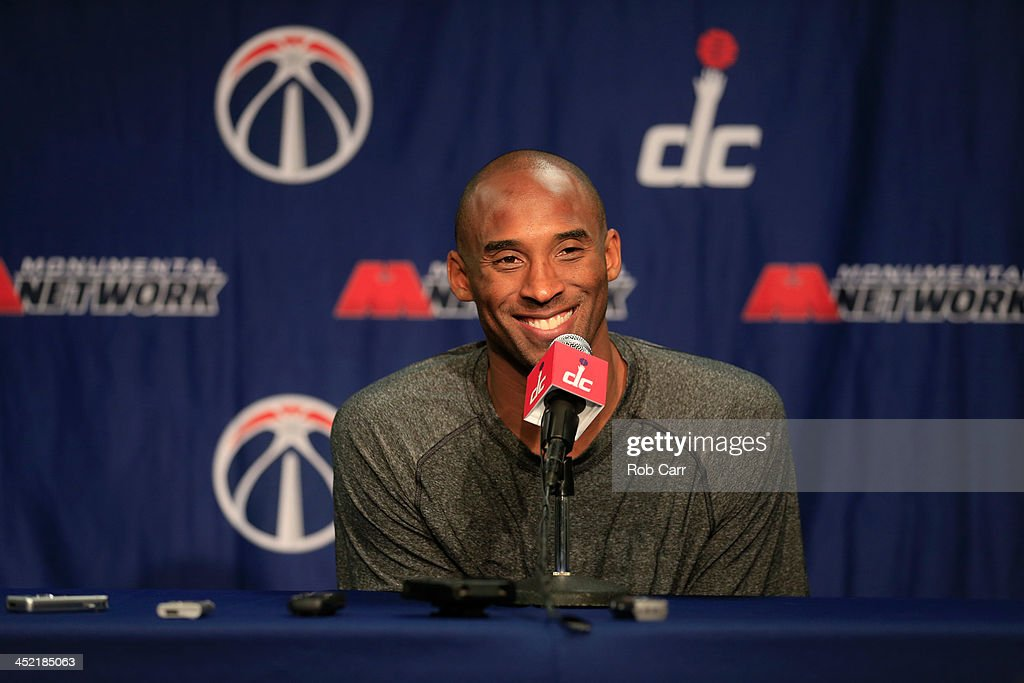 <a gi-track='captionPersonalityLinkClicked' href=/galleries/search?phrase=Kobe+Bryant&family=editorial&specificpeople=201466 ng-click='$event.stopPropagation()'>Kobe Bryant</a> #24 of the Los Angeles Lakers talks with the media during a news conference before the start of the Lakers and Washington Wizards game at Verizon Center on November 26, 2013 in Washington, DC.