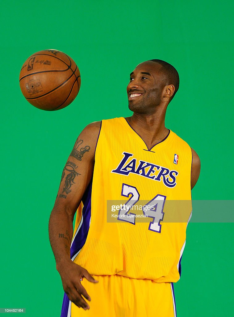 <a gi-track='captionPersonalityLinkClicked' href=/galleries/search?phrase=Kobe+Bryant&family=editorial&specificpeople=201466 ng-click='$event.stopPropagation()'>Kobe Bryant</a> #24 of the Los Angeles Lakers tapes a television segment during Media Day at the Toyota Center on September 25, 2010 in El Segundo, California.