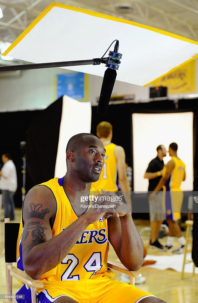 Kobe Bryant #24 of the Los Angeles Lakers tapes a television segments during Media Day at the Toyota Center on September 25, 2010 in El Segundo, California.