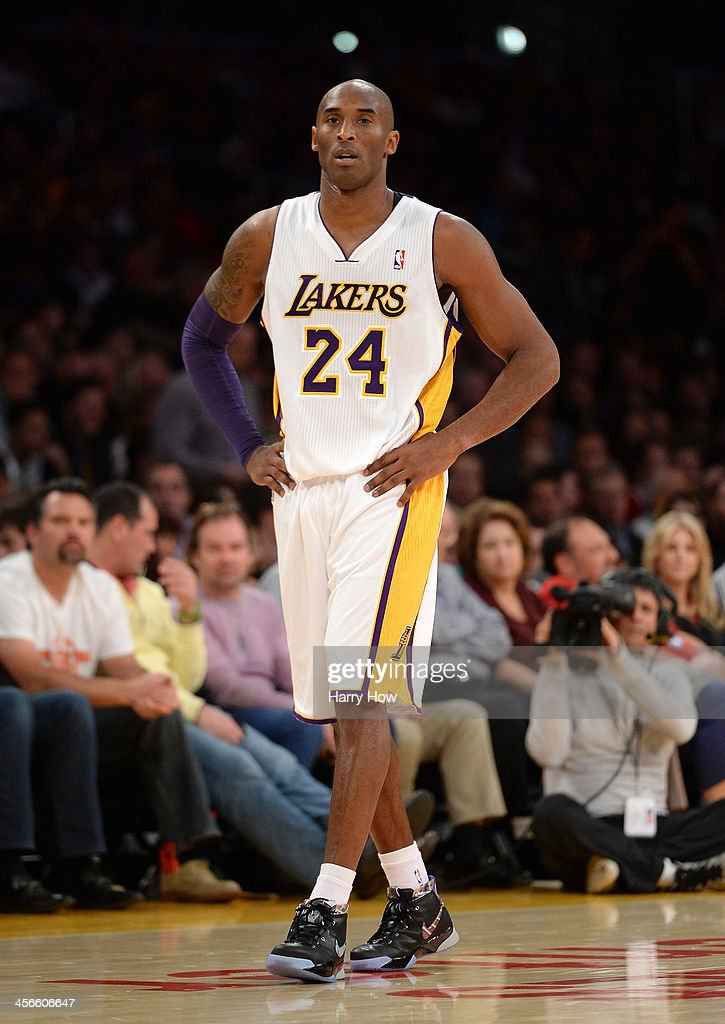 <a gi-track='captionPersonalityLinkClicked' href=/galleries/search?phrase=Kobe+Bryant&family=editorial&specificpeople=201466 ng-click='$event.stopPropagation()'>Kobe Bryant</a> #24 of the Los Angeles Lakers waits for play against the Toronto Raptors at Staples Center on December 8, 2013 in Los Angeles, California.