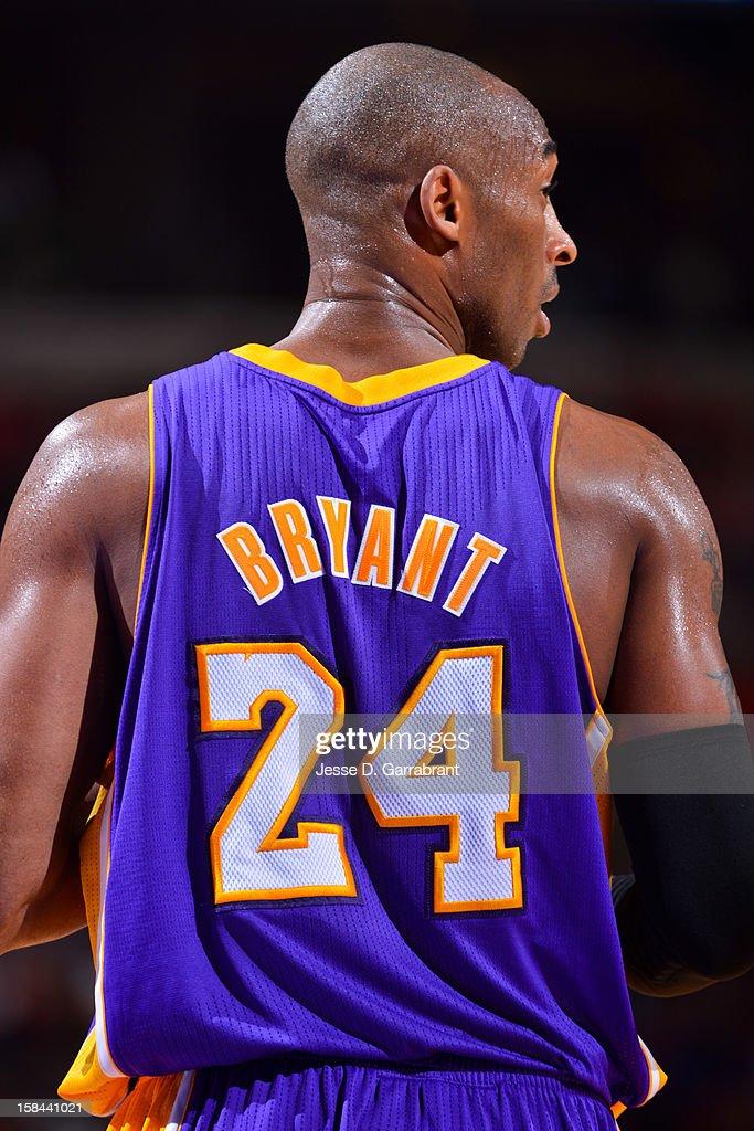 Kobe Bryant #24 of the Los Angeles Lakers waits to resume action against the Philadelphia 76ers at the Wells Fargo Center on December 16, 2012 in Philadelphia, Pennsylvania.