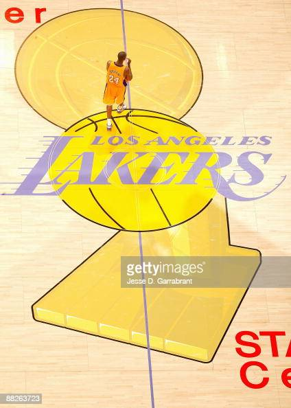 Kobe Bryant of the Los Angeles Lakers walks across the court in Game One of the 2009 NBA Finals against the Orlando Magic on June 2009 at Staples...