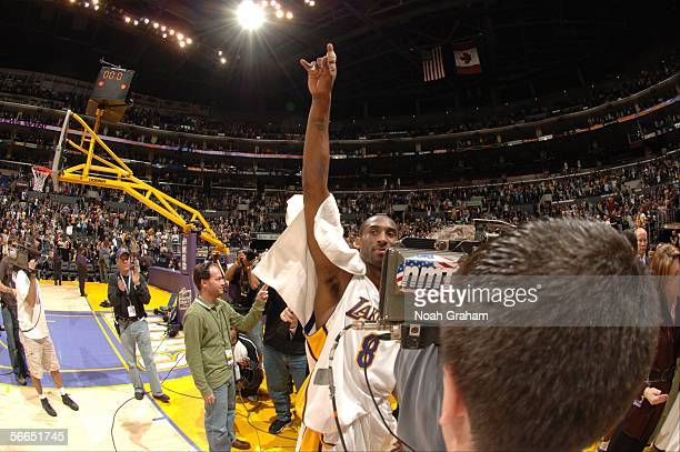 Kobe Bryant of the Los Angeles Lakers walks off the court after scoring 81 points against the Toronto Raptors on January 22 2006 at Staples Center in...