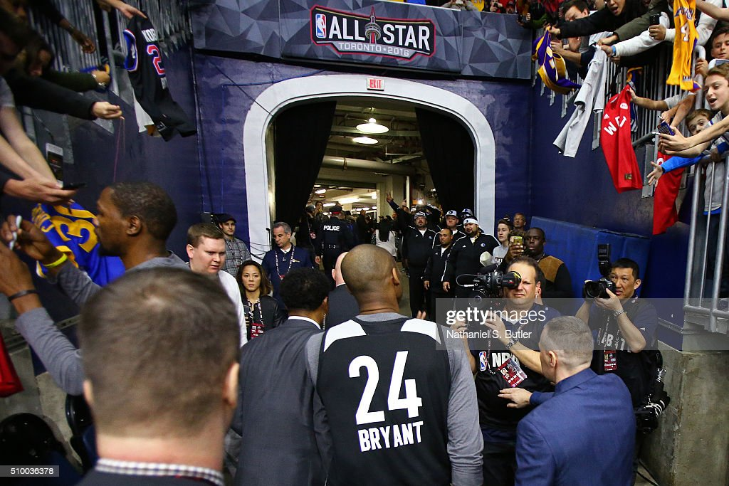 <a gi-track='captionPersonalityLinkClicked' href=/galleries/search?phrase=Kobe+Bryant&family=editorial&specificpeople=201466 ng-click='$event.stopPropagation()'>Kobe Bryant</a> #24 of the Los Angeles Lakers walks off the court after the NBA All-Star Practice as part of 2016 All-Star Weekend at the Ricoh Coliseum on February 13, 2016 in Toronto, Ontario, Canada.
