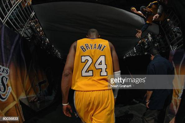 Kobe Bryant of the Los Angeles Lakers walks off the court against the New York Knicks at Staples Center on January 29 2008 in Los Angeles California...