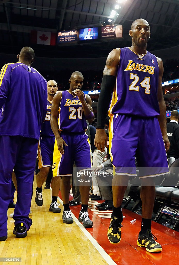 <a gi-track='captionPersonalityLinkClicked' href=/galleries/search?phrase=Kobe+Bryant&family=editorial&specificpeople=201466 ng-click='$event.stopPropagation()'>Kobe Bryant</a> #24 of the Los Angeles Lakers walks off the floor following the Lakers loss to the Washington Wizards at Verizon Center on December 14, 2012 in Washington, DC.
