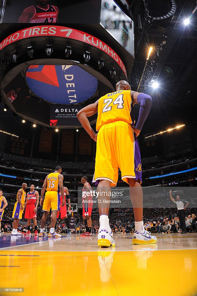 <a gi-track='captionPersonalityLinkClicked' href=/galleries/search?phrase=Kobe+Bryant&family=editorial&specificpeople=201466 ng-click='$event.stopPropagation()'>Kobe Bryant</a> #24 of the Los Angeles Lakers walks on the court during the game against the Washington Wizards at Staples Center on March 22, 2013 in Los Angeles, California.