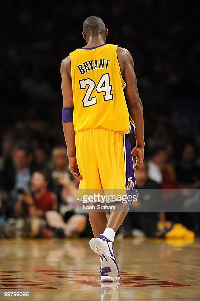 Kobe Bryant of the Los Angeles Lakers walks on the court while taking on the Utah Jazz in Game Two of the Western Conference Semifinals during the...