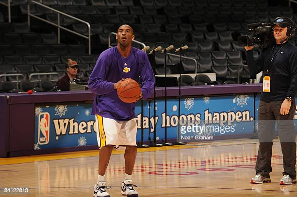 Kobe Bryant of the Los Angeles Lakers warms up before taking on the Boston Celtics at Staples Center on December 25 2008 in Los Angeles California...