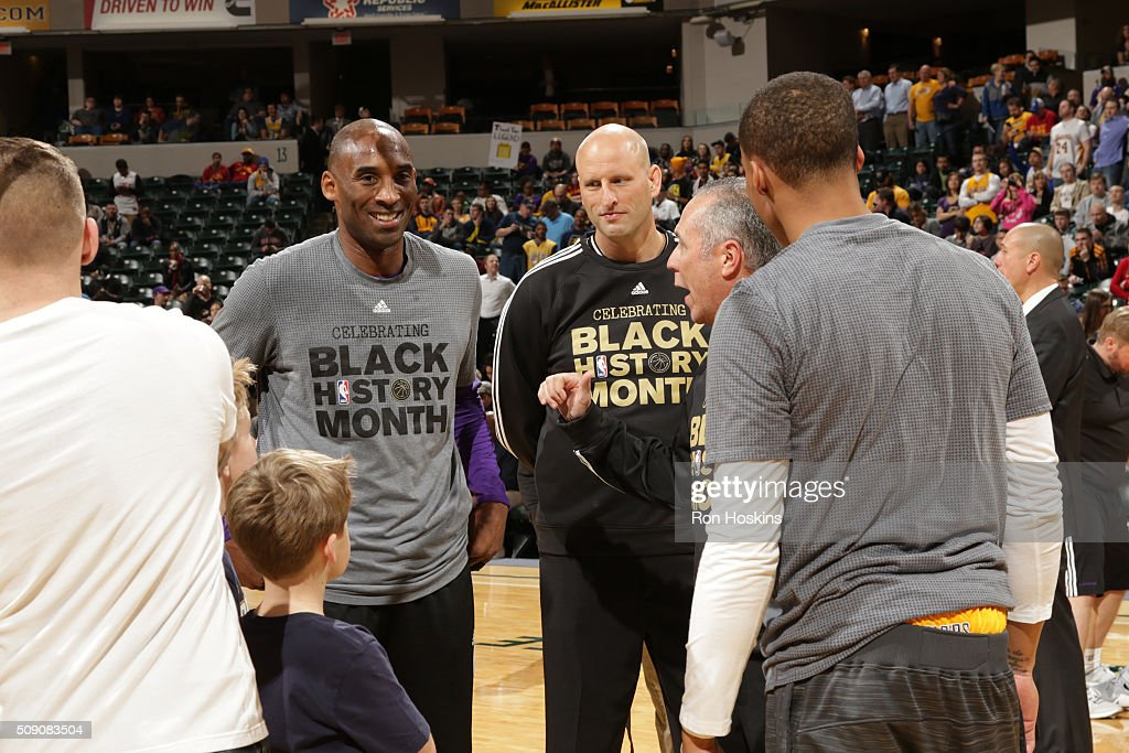 <a gi-track='captionPersonalityLinkClicked' href=/galleries/search?phrase=Kobe+Bryant&family=editorial&specificpeople=201466 ng-click='$event.stopPropagation()'>Kobe Bryant</a> #24 of the Los Angeles Lakers warms up before the game against the Indiana Pacers on February 8, 2016 at Bankers Life Fieldhouse in Indianapolis, Indiana.