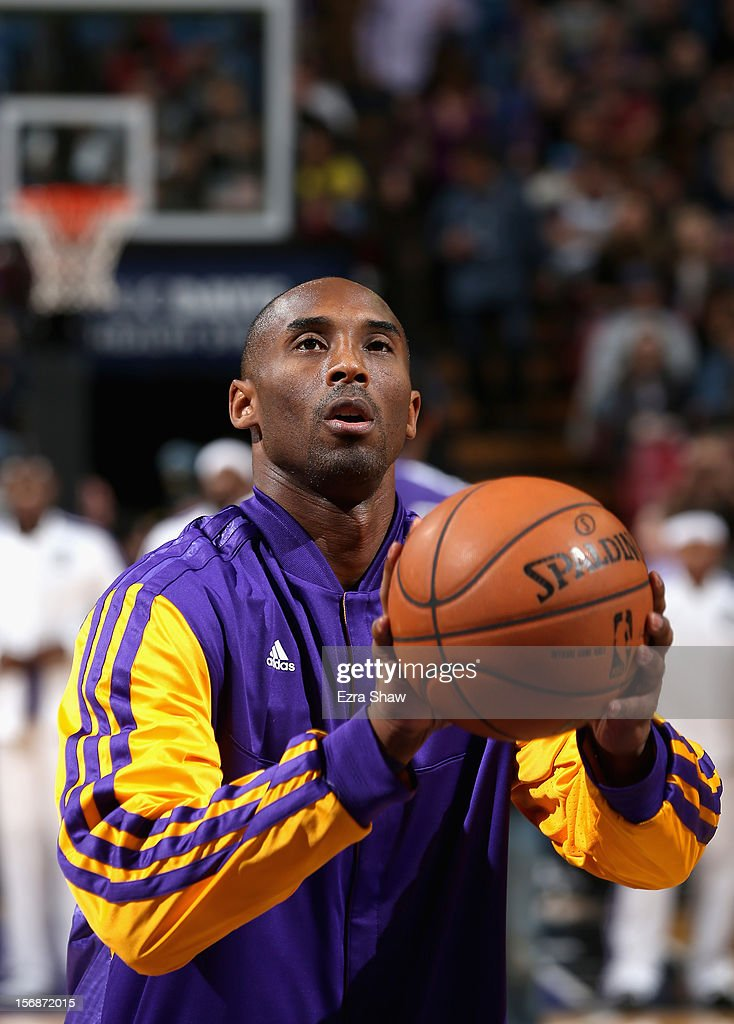 Kobe Bryant #24 of the Los Angeles Lakers warms up before their game against the Sacramento Kings at Power Balance Pavilion on November 21, 2012 in Sacramento, California.