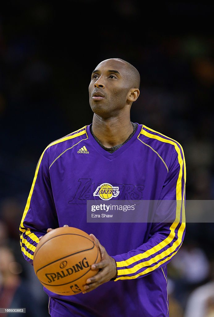 <a gi-track='captionPersonalityLinkClicked' href=/galleries/search?phrase=Kobe+Bryant&family=editorial&specificpeople=201466 ng-click='$event.stopPropagation()'>Kobe Bryant</a> #24 of the Los Angeles Lakers warms up before their game against the Golden State Warriors at Oracle Arena on March 25, 2013 in Oakland, California.