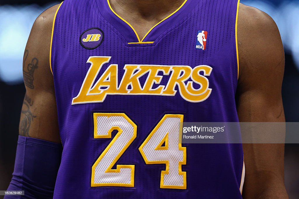 <a gi-track='captionPersonalityLinkClicked' href=/galleries/search?phrase=Kobe+Bryant&family=editorial&specificpeople=201466 ng-click='$event.stopPropagation()'>Kobe Bryant</a> #24 of the Los Angeles Lakers wears a JB patch in memory of Dr. Jerry Buss at American Airlines Center on February 24, 2013 in Dallas, Texas.