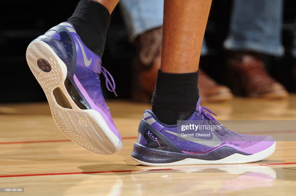 Kobe Bryant #24 of the Los Angeles Lakers wears his new shoes against the Houston Rockets on January 8, 2013 at the Toyota Center in Houston, Texas.
