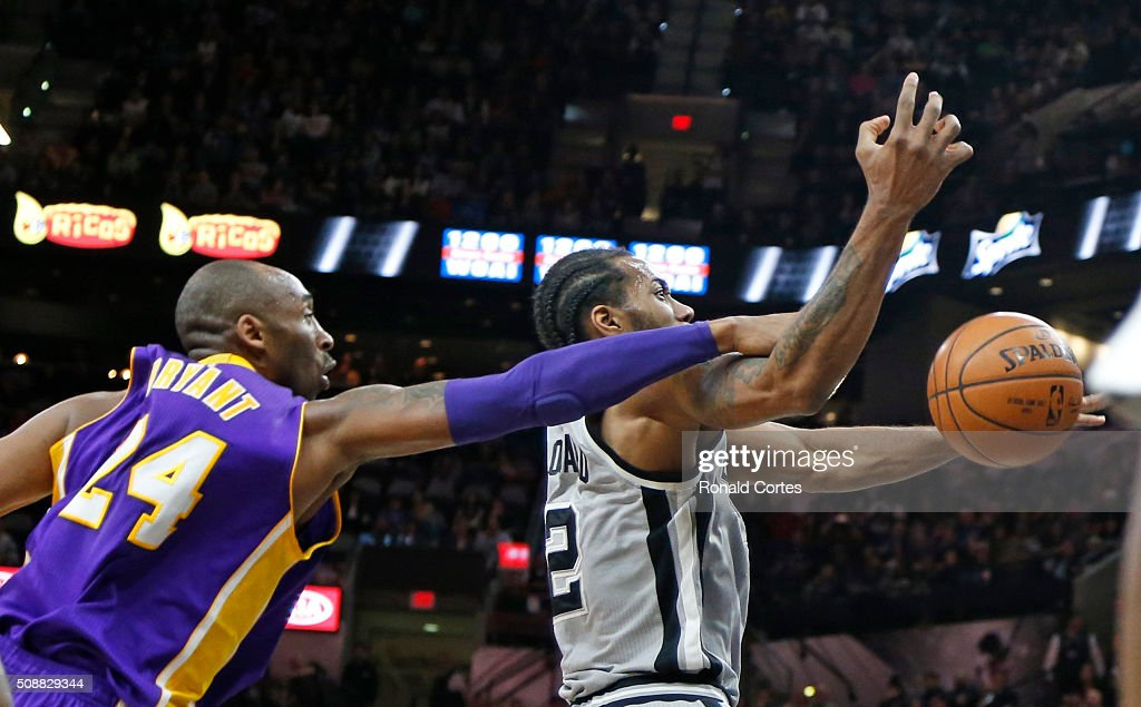 <a gi-track='captionPersonalityLinkClicked' href=/galleries/search?phrase=Kobe+Bryant&family=editorial&specificpeople=201466 ng-click='$event.stopPropagation()'>Kobe Bryant</a> #24 of the Los Angeles Lakersfouls <a gi-track='captionPersonalityLinkClicked' href=/galleries/search?phrase=Kawhi+Leonard&family=editorial&specificpeople=6691012 ng-click='$event.stopPropagation()'>Kawhi Leonard</a> #2 of the San Antonio Spurs at AT&T Center on February 6, 2016 in San Antonio, Texas.