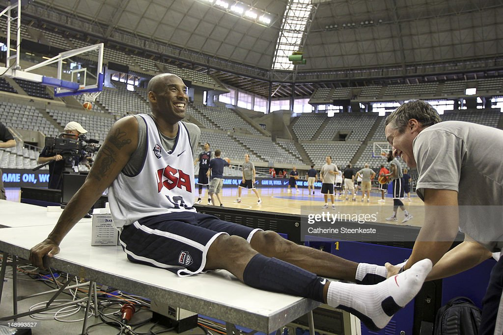 <a gi-track='captionPersonalityLinkClicked' href=/galleries/search?phrase=Kobe+Bryant&family=editorial&specificpeople=201466 ng-click='$event.stopPropagation()'>Kobe Bryant</a> # 10 of the US Men's Senior National team is getting a massage after practice at Palau Sant Jordi II arena in Barcelona, Spain on July 21, 2012.