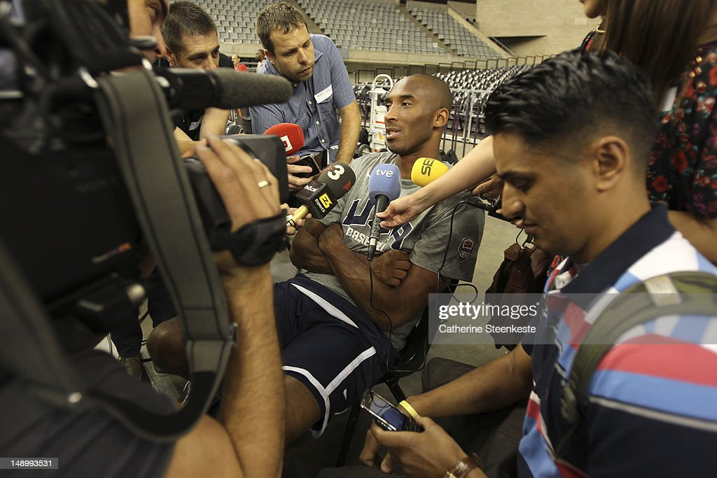 <a gi-track='captionPersonalityLinkClicked' href=/galleries/search?phrase=Kobe+Bryant&family=editorial&specificpeople=201466 ng-click='$event.stopPropagation()'>Kobe Bryant</a> # 10 of the US Men's Senior National team is interviewed by the media before practice at Palau Sant Jordi II arena in Barcelona, Spain on July 21, 2012.
