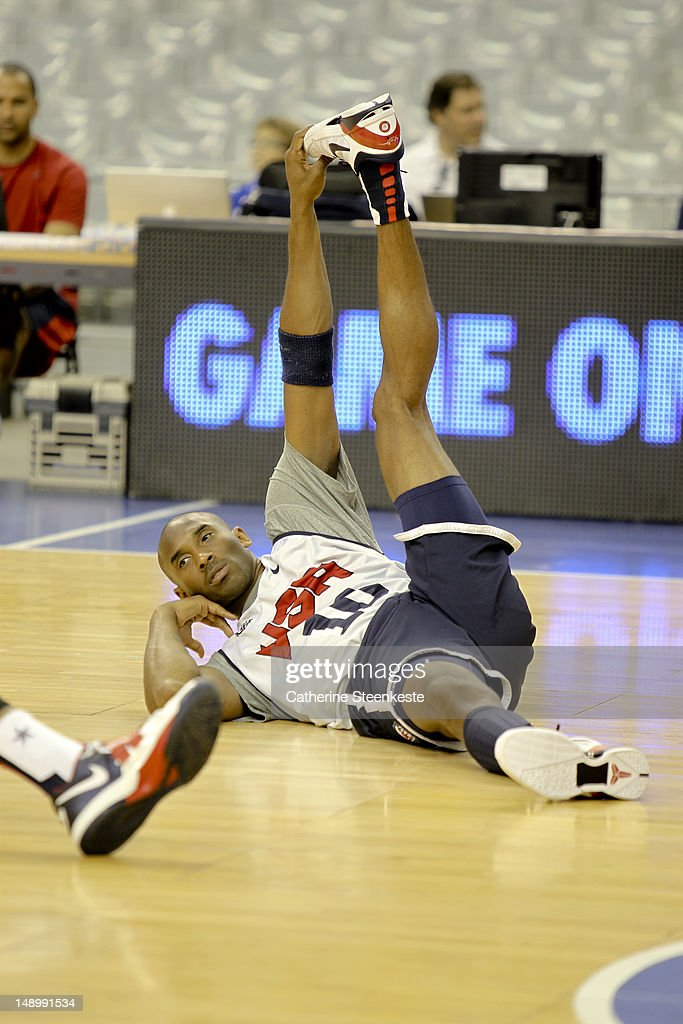 <a gi-track='captionPersonalityLinkClicked' href=/galleries/search?phrase=Kobe+Bryant&family=editorial&specificpeople=201466 ng-click='$event.stopPropagation()'>Kobe Bryant</a> # 10 of the US Men's Senior National team is stretching during practice at Palau Sant Jordi II arena in Barcelona, Spain on July 21, 2012.