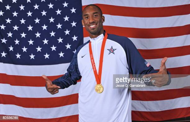 Kobe Bryant of the US Men's Senior National Team poses for portraits after defeating Spain 118107 in the men's gold medal basketball game at the 2008...