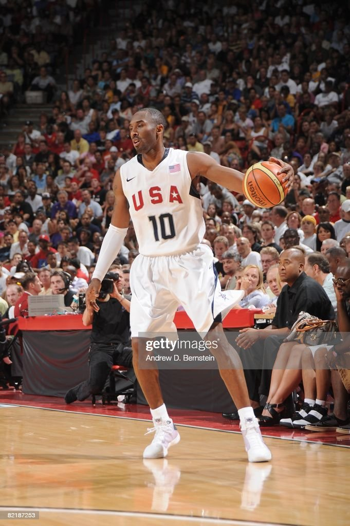 <a gi-track='captionPersonalityLinkClicked' href=/galleries/search?phrase=Kobe+Bryant&family=editorial&specificpeople=201466 ng-click='$event.stopPropagation()'>Kobe Bryant</a> #10 of the USA Basketball Men's Senior National Team moves the ball against the Canadian National Team during the State Farm USA Basketball Challenge on July 25, 2008 at the Thomas and Mack Center in Las Vegas, Nevada. The USA won 120-65.