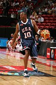 Kobe Bryant of the USA Men's Senior National Team moves the ball up court during the first round of the 2007 FIBA Americas Championship against the...