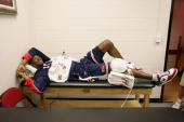 Kobe Bryant of the USA Men's Senior National Team prepares before the game against the Virgin Islands during the first round of the 2007 FIBA...