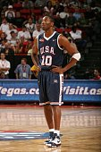 Kobe Bryant of the USA Men's Senior National Team stands on the court during the first round of the 2007 FIBA Americas Championship against the...