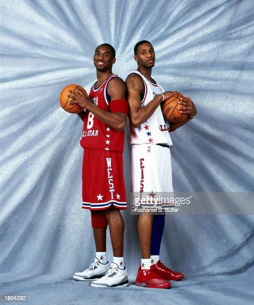 Kobe Bryant of the Western Conference AllStars and Tracy McGrady of the Eastern Conference AllStars pose for a portrait prior to the 52nd NBA AllStar...