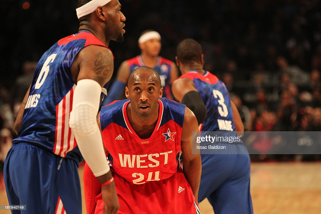 Kobe Bryant #24 of the Western Conference All-Stars defends LeBron James #6 of the Eastern Conference All-Stars during 2013 NBA All-Star Game on February 17, 2013 at Toyota Center in Houston, Texas.