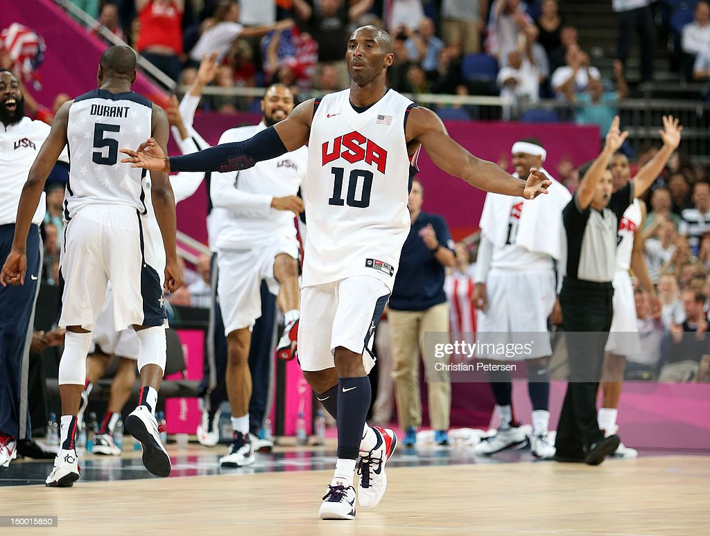 Kobe Bryant #10 of United States reacts after making a three-pointer in the second half against Australia during the Men's Basketball quaterfinal game on Day 12 of the London 2012 Olympic Games at North Greenwich Arena on August 8, 2012 in London, England.